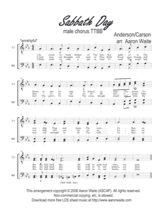 Thumbnail of first page of Sabbath Day piano sheet music PDF by Aaron Waite.