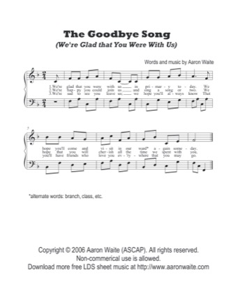 Thumbnail of first page of The Goodbye Song piano sheet music PDF by Aaron Waite.