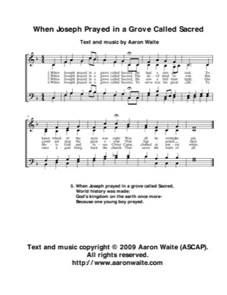 Thumbnail of first page of When Joseph Prayed in a Grove Called Sacred piano sheet music PDF by Aaron Waite.