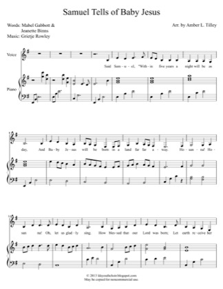 Thumbnail of first page of Samuel Tells of the Baby Jesus piano sheet music PDF by Amber Tilley.