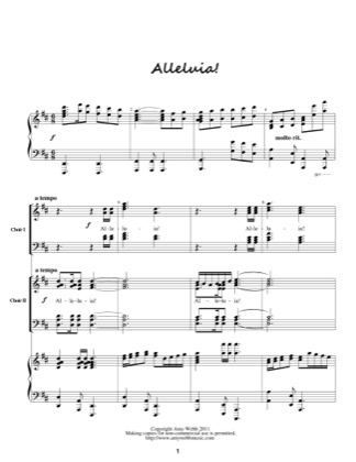 Thumbnail of first page of Alleluia! piano sheet music PDF by Amy Webb.