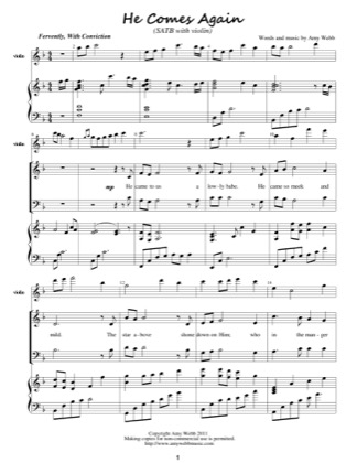 Thumbnail of first page of He Comes Again piano sheet music PDF by Amy Webb.