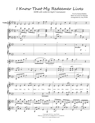 Thumbnail of first page of I Know That My Redeemer Lives piano sheet music PDF by Amy Webb.