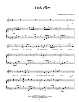 Thumbnail of first page of I Seek Him piano sheet music PDF by Amy Webb.