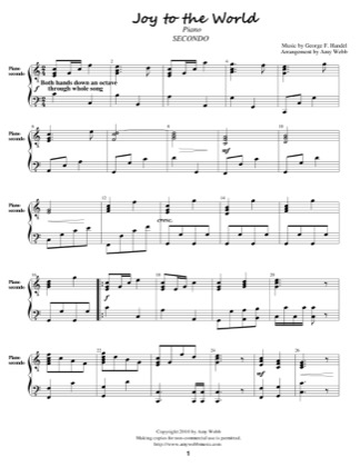 Thumbnail of first page of Joy to the World (Secondo) piano sheet music PDF by Amy Webb.