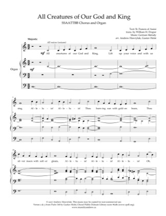 Thumbnail of first page of All Creatures of Our God and King piano sheet music PDF by Andrew Hawryluk.