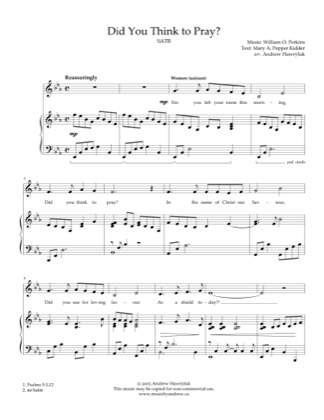Thumbnail of first page of Did You Think to Pray? piano sheet music PDF by Andrew Hawryluk.