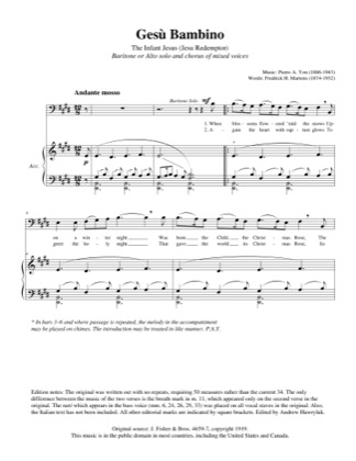 Thumbnail of first page of Gesu Bambino piano sheet music PDF by Andrew Hawryluk.
