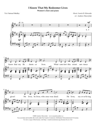 Thumbnail of first page of I Know That My Redeemer Lives piano sheet music PDF by Andrew Hawryluk.