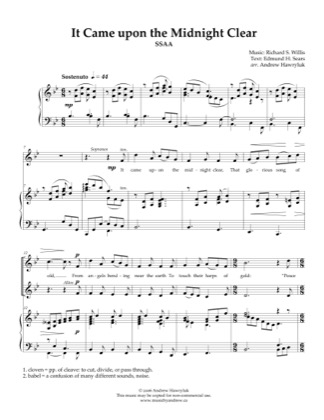 Thumbnail of first page of It Came Upon a Midnight Clear piano sheet music PDF by Andrew Hawryluk.
