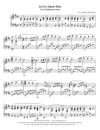 Thumbnail of first page of Let Us Adore Him piano sheet music PDF by Andrew Hawryluk.