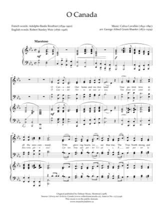 Thumbnail of first page of O Canada piano sheet music PDF by Andrew Hawryluk.