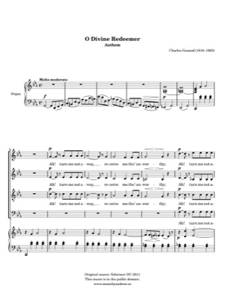 Thumbnail of first page of O Divine Redeemer piano sheet music PDF by Andrew Hawryluk.