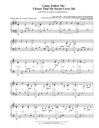 Thumbnail of first page of Come Follow Me piano sheet music PDF by Anne Britt.