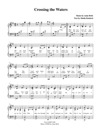 Thumbnail of first page of Crossing The Waters piano sheet music PDF by Anne Britt.