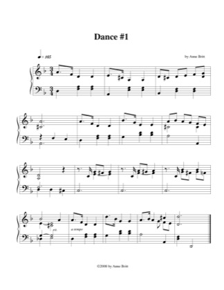 Thumbnail of first page of Dance # 1 piano sheet music PDF by Anne Britt.