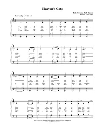 Thumbnail of first page of Heaven's Gate piano sheet music PDF by Anne Britt.