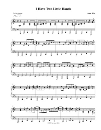 Thumbnail of first page of I Have Two Little Hands piano sheet music PDF by Anne Britt.