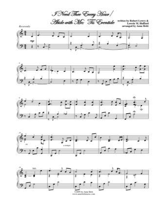 Thumbnail of first page of I Need Thee Every Hour/Abide with Me, Tis Eventide piano sheet music PDF by Anne Britt.