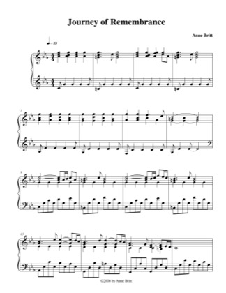 Thumbnail of first page of Journey of Remembrance piano sheet music PDF by Anne Britt.