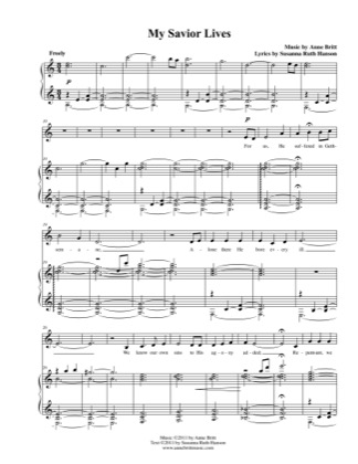 Thumbnail of first page of My Savior Lives piano sheet music PDF by Anne Britt.