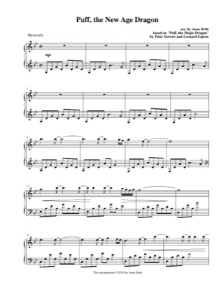 Thumbnail of first page of Puff, the New Age Dragon piano sheet music PDF by Anne Britt.