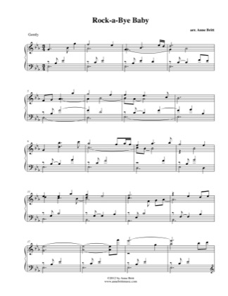 Thumbnail of first page of Rock-a-bye Baby piano sheet music PDF by Anne Britt.