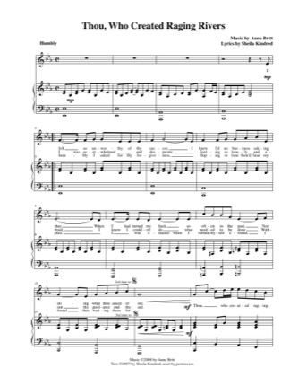 Thumbnail of first page of Thou, Who Created Raging Rivers piano sheet music PDF by Anne Britt.