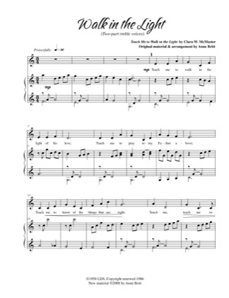 Thumbnail of first page of Walk in The Light piano sheet music PDF by Anne Britt.