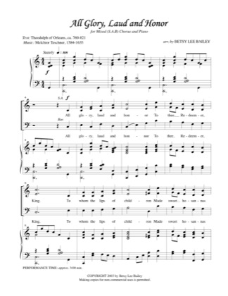 Thumbnail of first page of All Glory, Laud, and Honour piano sheet music PDF by Betsy Bailey.