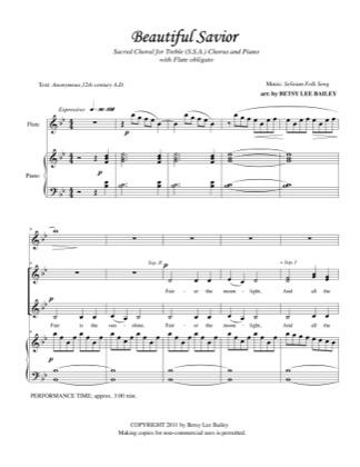 Thumbnail of first page of Beautiful Savior piano sheet music PDF by Betsy Bailey.