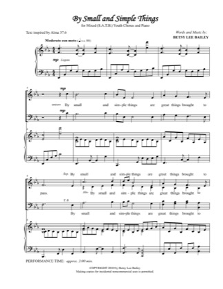 Thumbnail of first page of By Small and Simple Things piano sheet music PDF by Betsy Bailey.