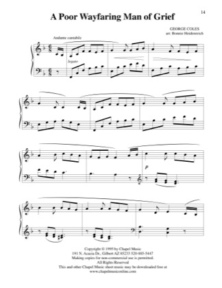 Thumbnail of first page of A Poor Wayfaring Man of Grief - Piano piano sheet music PDF by Bonnie Heidenreich.