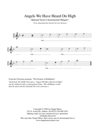 Print and download for free: Angels We Have Heard on High piano sheet music by Bonnie Heidenreich.