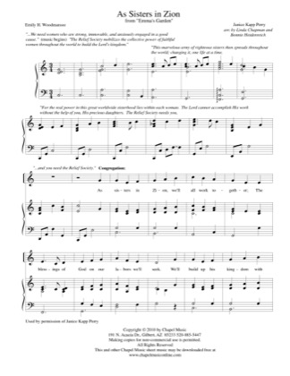Thumbnail of first page of As Sisters in Zion piano sheet music PDF by Bonnie Heidenreich.
