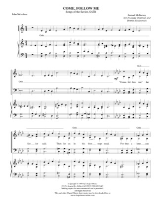 Thumbnail of first page of Come Follow Me piano sheet music PDF by Bonnie Heidenreich.