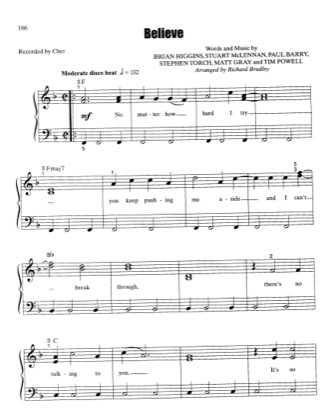 Thumbnail of first page of Believe piano sheet music PDF by Cher.