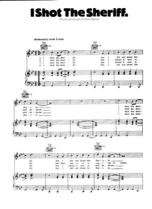 Thumbnail of first page of I Shot the Sheriff piano sheet music PDF by Bob Marley.