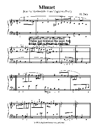 Thumbnail of first page of Minuet piano sheet music PDF by Bach.