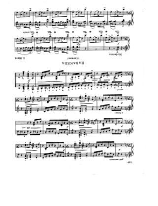 Thumbnail of first page of Habanera piano sheet music PDF by Bizet.