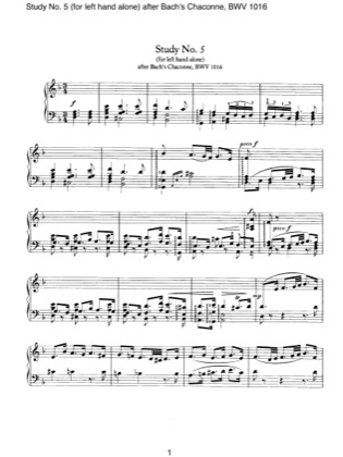Thumbnail of first page of Study No.5 (Left Hand) piano sheet music PDF by Brahms.