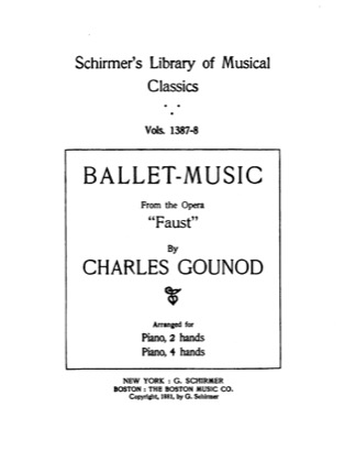 Thumbnail of first page of Ballet Music from Faust piano sheet music PDF by Gounod.