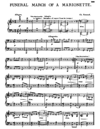 Thumbnail of first page of Funeral March Of A Marionette piano sheet music PDF by Gounod.