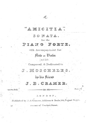 Thumbnail of first page of Amicitia Sonata in E Major piano sheet music PDF by Cramer.