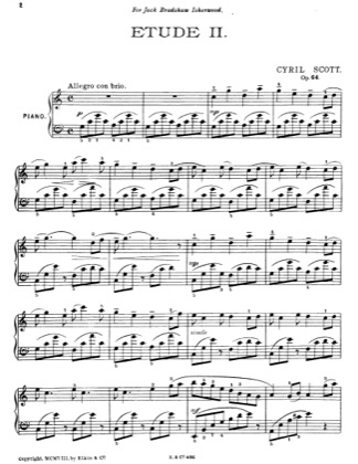 Thumbnail of first page of Etude II piano sheet music PDF by Cyril Scott.