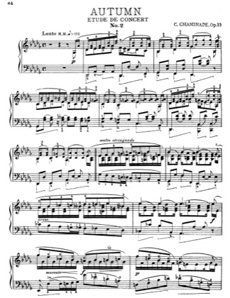 Thumbnail of first page of Autumn Etude De Concert piano sheet music PDF by Cecile Chaminade.