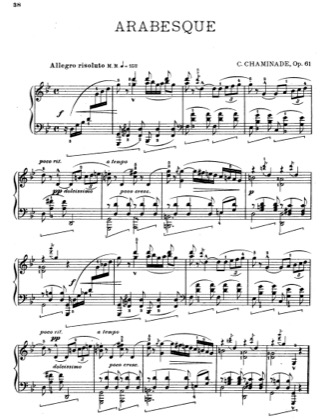 Thumbnail of first page of Arabesque piano sheet music PDF by Cecile Chaminade.