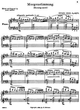 Print and download for free: Morgenstimmung piano sheet music by Edvard Grieg.