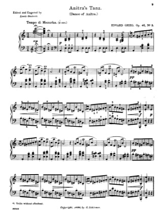 Thumbnail of first page of Anitra's Tanz piano sheet music PDF by Grieg.