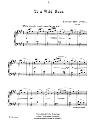 Thumbnail of first page of To A Wild Rose piano sheet music PDF by Edward MacDowell.